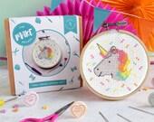 Cross stitch kit, unicorn, galentines day, unicorn decor, counted cross stitch, gifts for her, craft kit, easy DIY kit, modern cross stitch