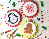 Cross stitch trio - christmas cross stitch- cross stitch patterns- snowflake cross stitch- modern cross stitch
