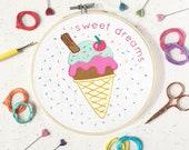 ice cream embroidery, ice cream print, craft kit, embroidery kit, embroidery pattern, needlepoint, kits, needlework kit, DIY gift