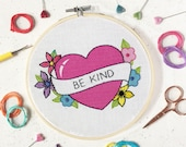 Learn embroidery, kindness, embroidery pattern,  embroidery kit, needlework kit,  valentines gifts, palentines, galentines, gifts for friend