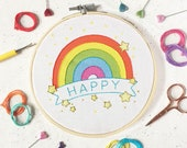 learn embroidery, rainbow, craft kit, embroidery kit, needlework kit, embroidery pattern, DIY Gift, rainbow print, needlepoint, kits