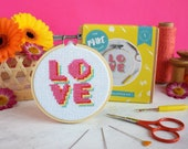 Cross stitch kit, LOVE cross stitch,  valentines gifts, palentines, galentines, gifts for friend gifts for her, needlepoint, love gifts