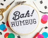 Bah! Humbug Cross Stitch Kit, Christmas gifts, Anti Christmas Gifts, gifts for scrooge, secret santa, modern cross stitch, craft kit