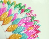 Neon Leaf Pins- Pin wheel- sewing supplies- pins- pins for dressmaking