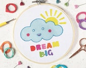 Learn embroidery, motivational art, craft kit, dream big, nursery art, embroidery kit, embroidery pattern, DMC threads, needlepoint, kits