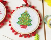 Christmas tree cross stitch, christmas craft, cross stitch, stocking filler, modern cross stitch, craft supplies, stocking filler, craft kit