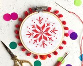 cross stitch kits, secret santa, stocking fillers, modern cross stitch, craft kits, snowflake, snowflake design, christmas gifts