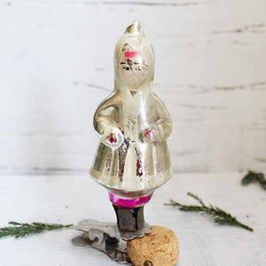 Pink glass snow maiden decor \u0421hristmas doll ornament Soviet Antique Christmas decorations Vintage Retro Antique winter holidays decorations