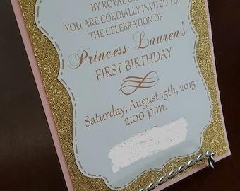 Pink and Gold Princess Birthday Invitation #2