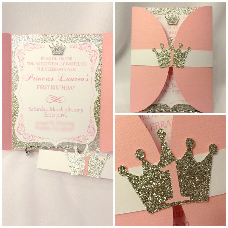 Pink Gold Princess Birthday Invitations OG