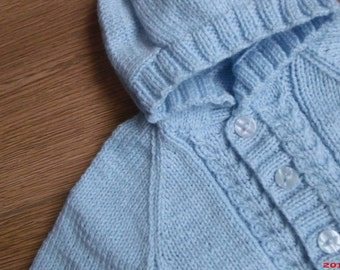Hand-Made, Hand-Knitted, Babies, Unisex Hooded Jacket/Sweater. 0-3 months 3-6 months 6-9 monthss