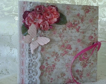 Vintage Chic Style 6.5 x 6.5 Scrapbook Photo Album, Handmade Mini Photo Book, Pink and Green Photo Album