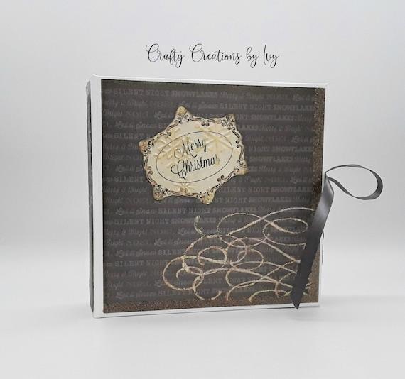 Memory Book Custom Photo Book 6.5 x 6.5 Christmas Photo Album Pocket and Tags Noel Christmas Album Handmade Christmas Scrapbook