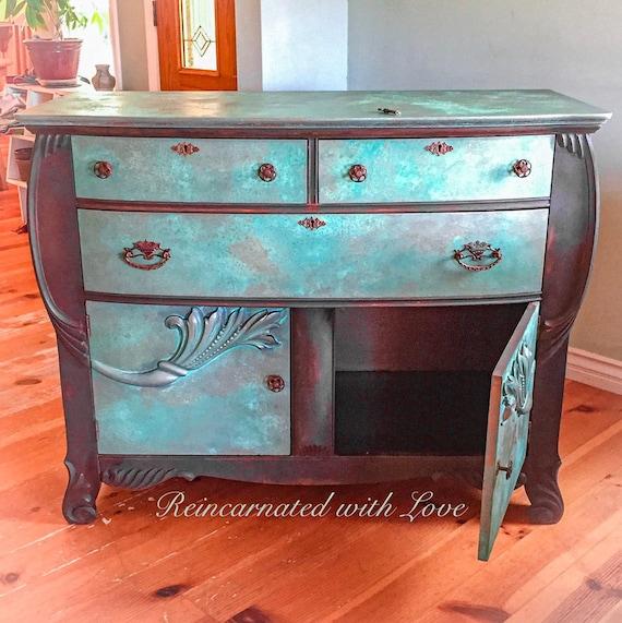 Locking Antique Dresser Patina Rusted Bureau Credenza Etsy