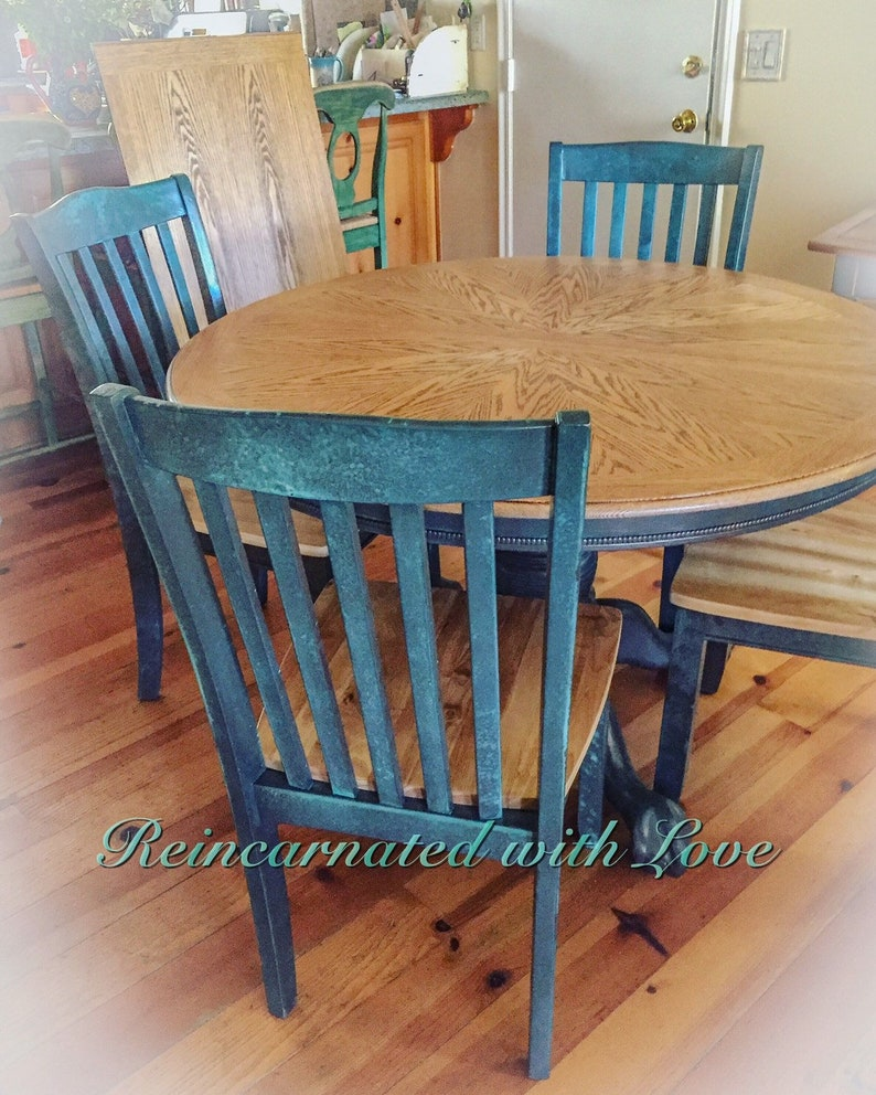Farmhouse Table Extendable Dining Table Blue Kitchen Table Shabby Chic Dining Table Round Dining Table Farm Table Painted Furniture