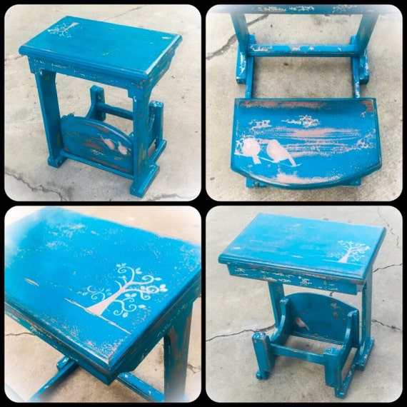 image 0 - Antique Toddler Desk W/ Bench Seat Blue Desk Childrens Etsy