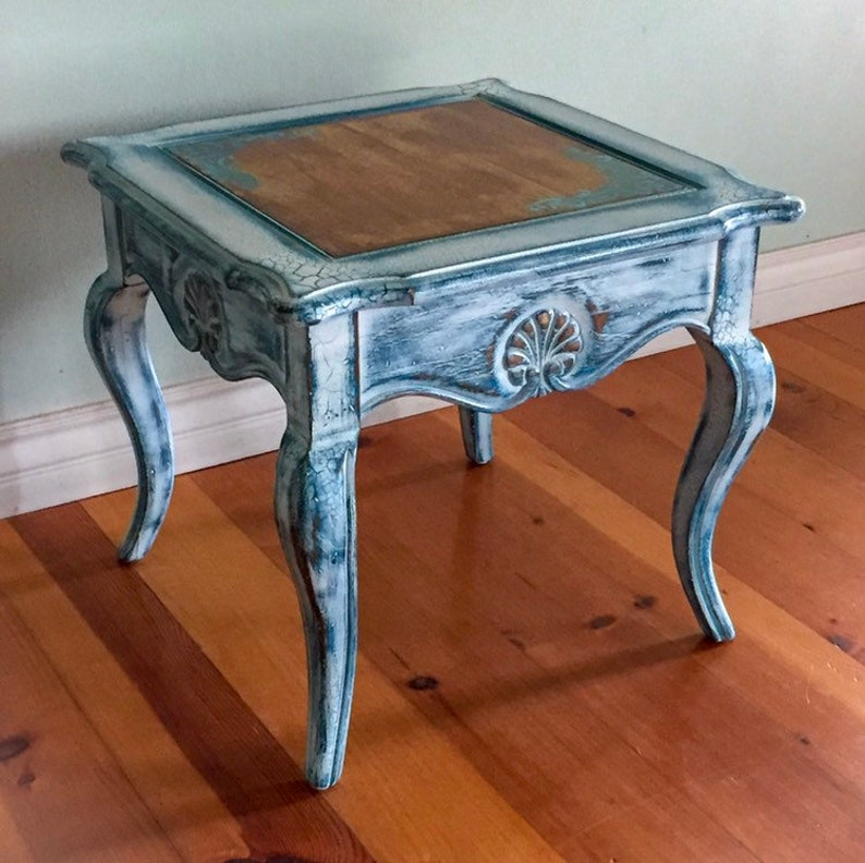 Side Table French Country small table white end table vintage end table shabby chic end table painted furniture end table