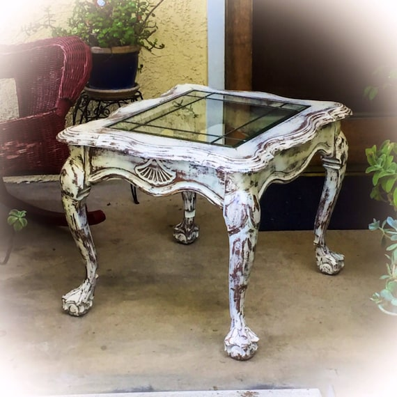 Sold French Country Antique End Table Distressed White Etsy