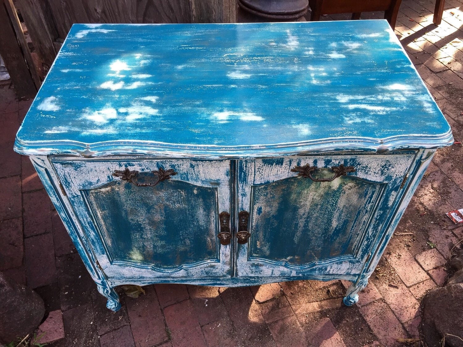Sold French Country Vanity Shabby Chic Sofa Table Vintage End Table Side Table Nightstand In Distressed Blue Over White W Gold Undert