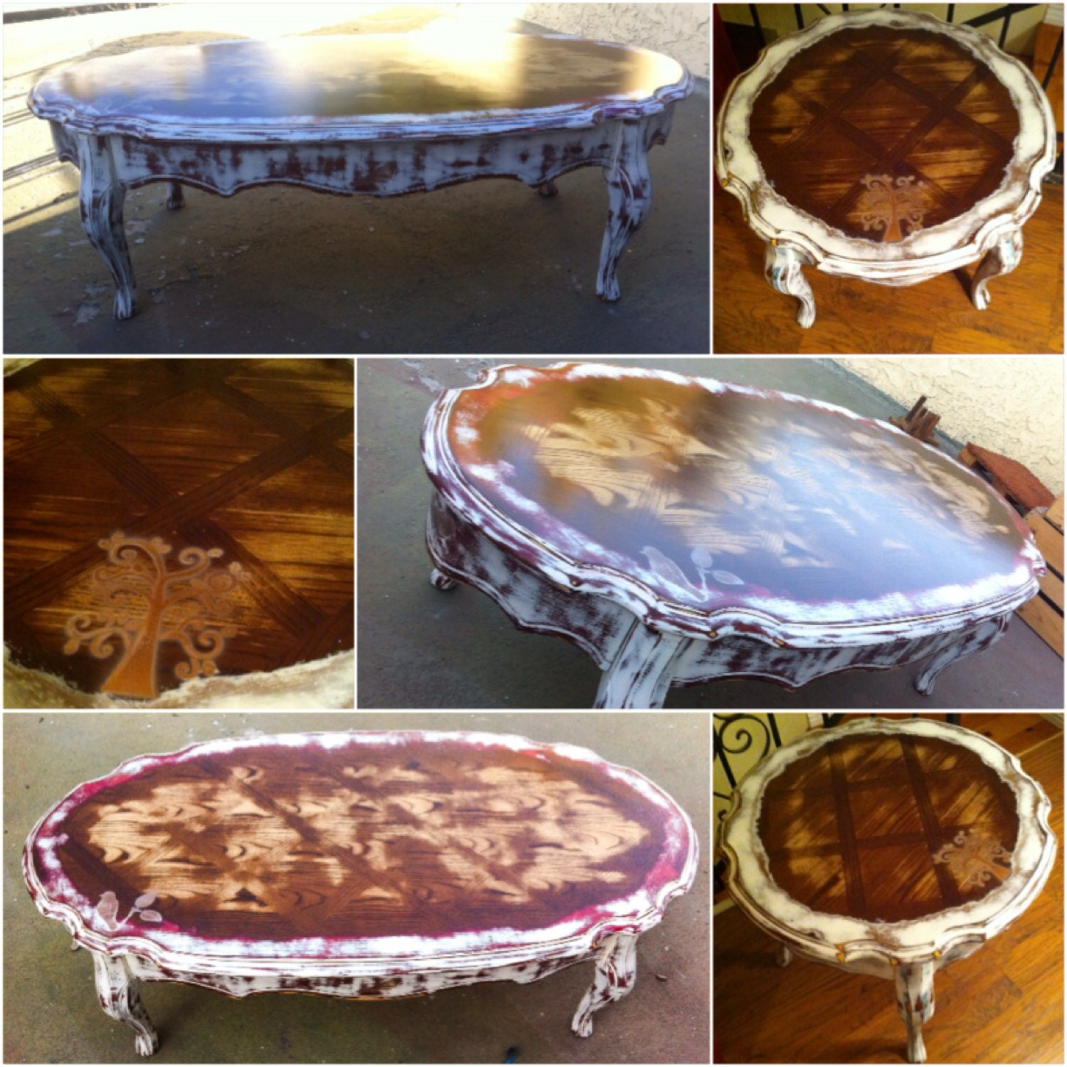 Gold Shabby Chic Coffee Table: SOLD 2 Piece French Country Coffee Table Set Shabby Chic