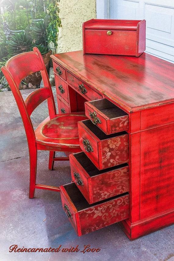Pleasant Sold Farmhouse Desk Antique Desk W Matching Chair Distressed Red Desk Copper Undertones Shabby Chic Desk Rustic Desk Vintage Desk Download Free Architecture Designs Lukepmadebymaigaardcom