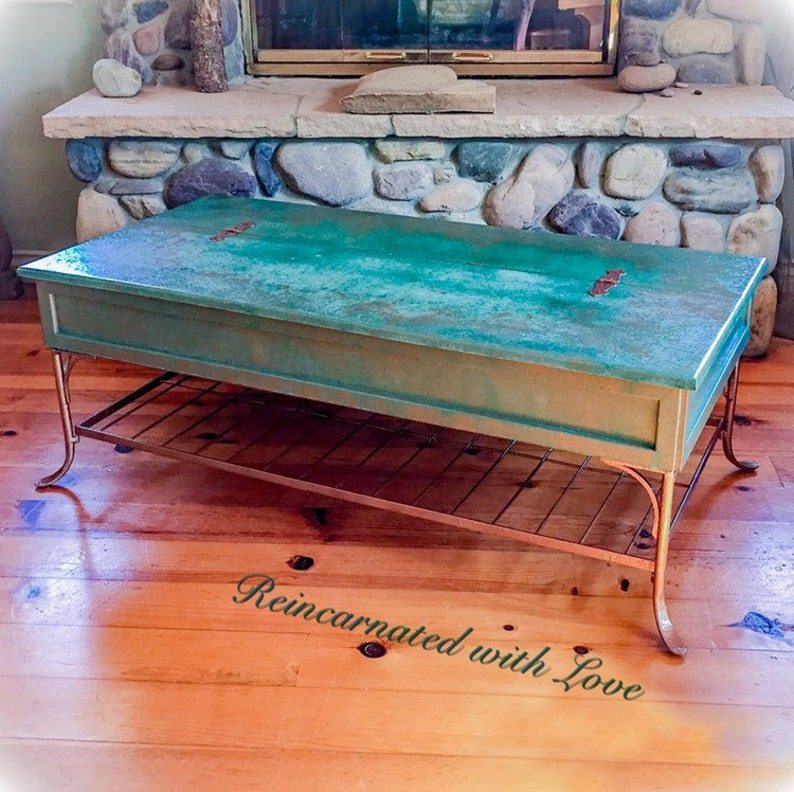 Sold Patina Rusted Copper Coffee Table Hinged Tabletop Vintage Coffee Table Lift Top Storage Boho Coffee Table Painted Furniture