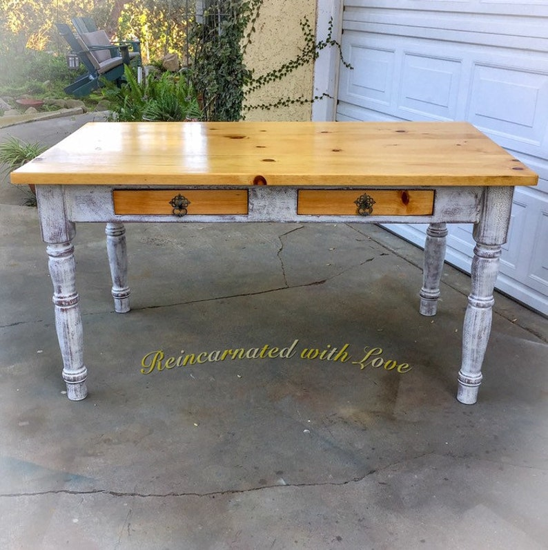 Farmhouse Dining Table, White, Shabby Chic Dining Table, Kitchen Table,  Rustic Dining Table, Farm Table, Wood, Dining Table, Farmhouse Table