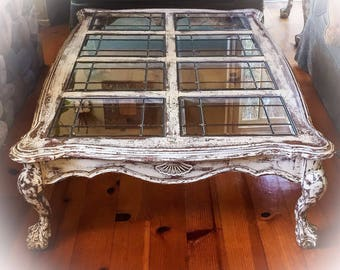 SOLD - 5' Farmhouse Coffee Table, antique white w/ copper undertones, LARGE, glass top, distressed coffee tables, shabby chic coffee table