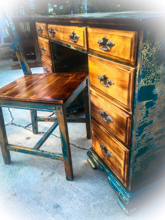 image 0 - SOLD 4' Long Burnt Wood Antique Desk W/ Matching Etsy