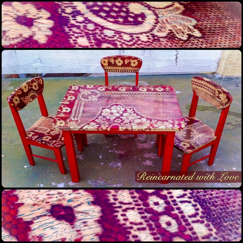 Pleasant Vintage Kids Table Shabby Chic Red Childs Table And Chairs Montessori Toddler Kids Furniture Kids Table And Chairs Kids Table Download Free Architecture Designs Lukepmadebymaigaardcom