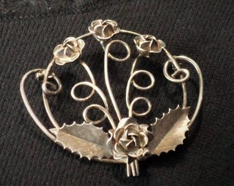 Floral Pin 1930s-1940s Vintage Designer Art Nouveau Hob\u00e9 Signed Hobe Sterling Silver Brooch  Pin with Peony Flowers /& Leaves