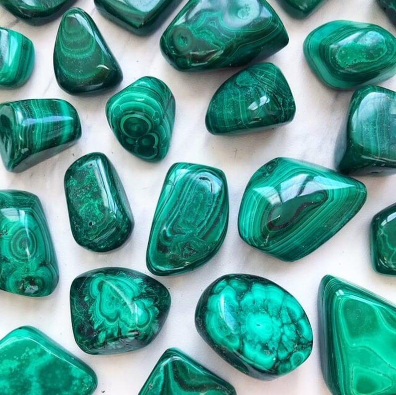 Malachite Tumbled Pocket Stone image 0