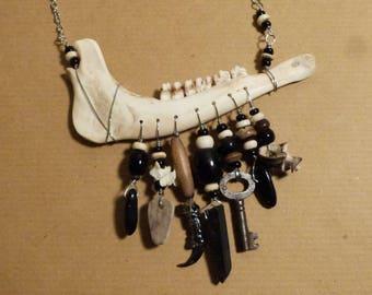 Muntjac Deer Jaw Bone Necklace