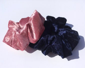 Large Scrunchies. 90s style. Blush Pink. Navy Blue