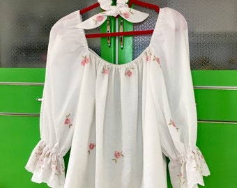 Square Neck Puff Sleeve Blouse. Matching Scrunchy