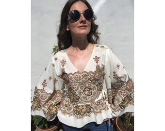 Bell Sleeve Up-Cycled. Brown Floral. Wrap Top.