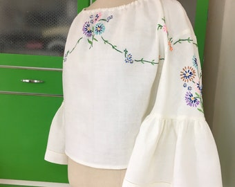 Vintage Embroidered Tablecloth Blouse