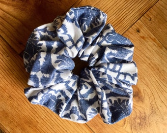 Upcycled/recycled Scrunchies. Blue Batic Pattern.