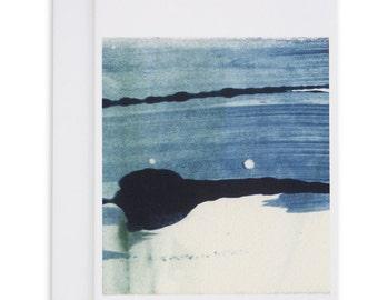 Indigo Card, Abstract Monotype, Abstract Art, Printmaking, Greeting Card, Indigo Art, Indigo Printables, Blue Abstract Art, Original Art