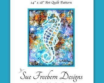 INSTANT PATTERN: Seahorse Silhouette Art Quilt Pattern DOWNLOAD Sea, Ocean, Collage, Underwater, Wall Art, Decor
