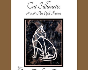 INSTANT PATTERN: Cat Silhouette Art Quilt Pattern DOWNLOAD, Kittens, collage, Pet Animal, Sewing, Quilting, Wall Art, Decor, Textiles Fabric