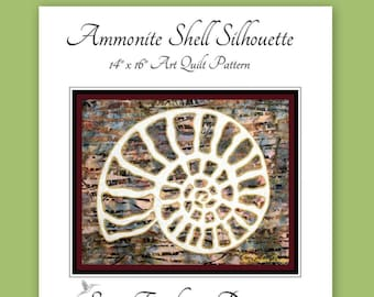 INSTANT PATTERN: Ammonite Shell Silhouette Art Quilt Pattern Download, Collage, Ocean, Underwater, Wall Decor, Sewing, Quilting, Stitching