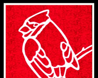 PATTERN: CARDINAL Silhouette Art Quilt Pattern Instant Download Bird, Wings, Wall Art, Decor, Quilting, Sewing, Flight,