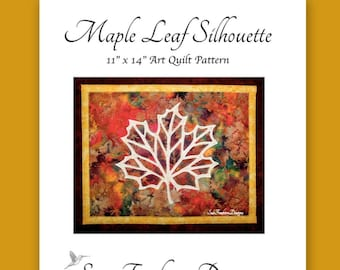 INSTANT PATTERN: Maple Leaf Silhouette Art Quilt Pattern DOWNLOAD Canada, Trees, Autumn, Collage Art, Foliage, Sewing, Wall Decor, Quilting