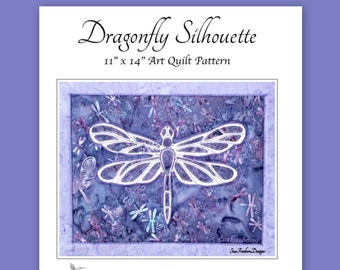 INSTANT PATTERN: Dragonfly Silhouette Art Quilt Pattern Download, Collage, Spirit, Insect,  Fabric, Sewing, Quilting, Stitching
