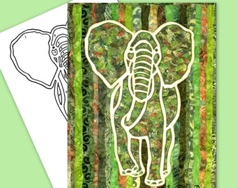 Elephant Silhouette Collage Art Quilt TEMPLATE ONLY Instant Download