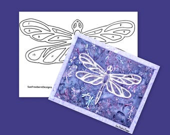 INSTANT TEMPLATE: Dragonfly Silhouette TEMPLATE Only, Instant Download, Textile Art, Nature, Spirit, Fabric, Sewing, Quilting, Stitching