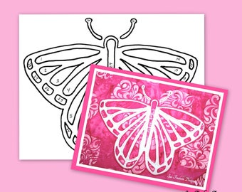 TEMPLATE: Butterfly Silhouette TEMPLATE ONLY  Instant Download, Monarch, Insect, Wings, Wall Decor, Quilting, Sewing, Fabric, Textiles, Art