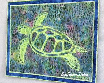INSTANT PATTERN: Sea Turtle Silhouette Art Quilt Pattern DOWNLOAD Sea, Ocean, Underwater, collage, Wall Decor, Wall Art, Sewing, Quilting