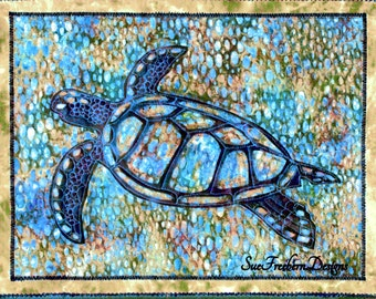 INSTANT PATTERN: Sea Turtle Silhouette #2 Art Quilt Pattern  DOWNLOAD Sea, Ocean, Beach, Sea life, Collage Art, Wall Decor, Quilting, Sewing